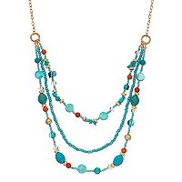 Teal Bead Multi Strand Necklace
