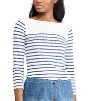 Women's Chaps Striped Logo Top
