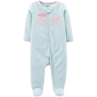"Baby Girl Carter's ""Little Sister"" Microfleece Sleep & Play"