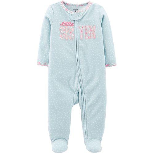 """Baby Girl Carter's """"Little Sister"""" Microfleece Sleep & Play"""
