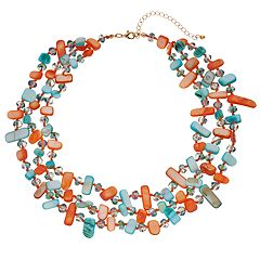 Peach & Teal Bead Multi Strand Necklace