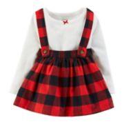 Baby Girl Carter's Pointelle Bodysuit & Buffalo Check Flannel Jumper Set