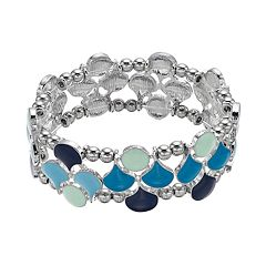 Blue & Mint Green Multirow Stretch Bracelet