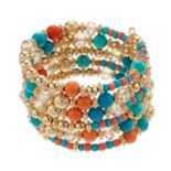 Reconstituted Turquoise & Bead Coil Bracelet