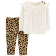 Baby Girl Carter's Cable-Knit Sweater & Cheetah Leggings Set