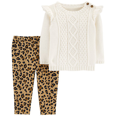Baby Girl Carters Cable Knit Sweater Cheetah Leggings Set Null
