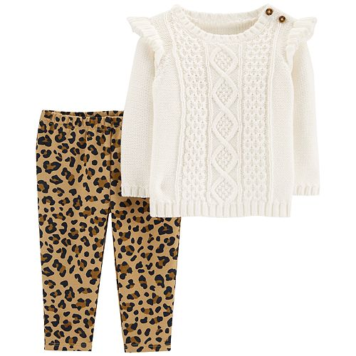 70cdf96528829 Baby Girl Carter's Cable-Knit Sweater & Cheetah Leggings Set