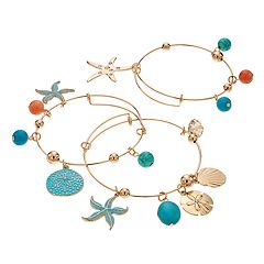 Nautical Charm Bangle Bracelet Set
