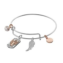love this life Two Tone 'Watch Over Me' Angel Charm Bangle Bracelet