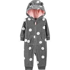 Baby Girl Carter's Polka-Dot Hooded Fleece Coverall