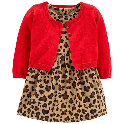 561737b32a Baby Girl Carter s Cheetah Dress   Cardigan Set