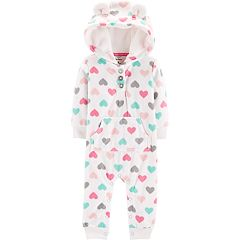 Baby Girl Carter's Hooded Heart Fleece Coverall