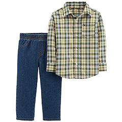 Toddler Boy Carter's Plaid Button Down Shirt & Denim Pants Set