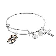 love this life 'Faith Hope Love' Cross Charm Bangle Bracelet