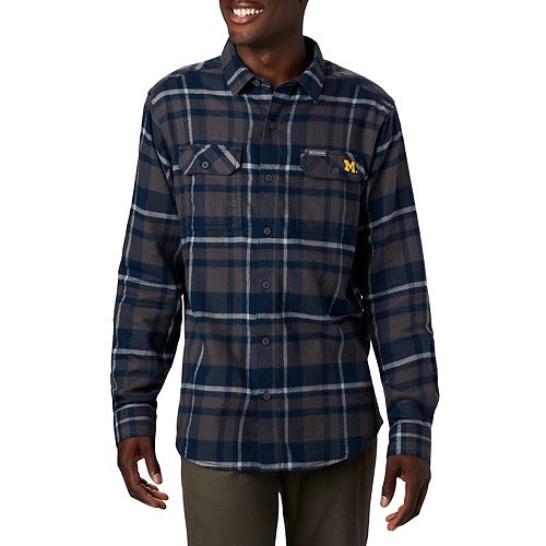 Men's Columbia NCAA Michigan Wolverines Flare Gun Flannel Collegiate Shirt