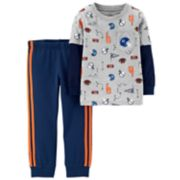 Toddler Boy Carter's 2-pc. Sports Pocket Mock Layer Tee & Striped Jogger Pants Set