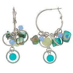 Blue Mixed Bead Nickel Free Hoop Drop Earrings