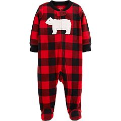 Baby Boy Carter's Microfleece Buffalo Plaid Bear Sleep & Play
