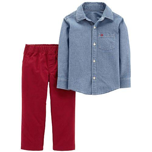 602fc3d97 Toddler Boy Carter's Chambray Shirt & Pants Set