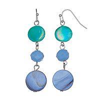 Blue Faux Shell & Bead Nickel Free Drop Earrings