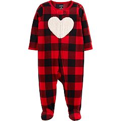 Baby Girl Carter's Microfleece Buffalo Plaid Heart Sleep & Play