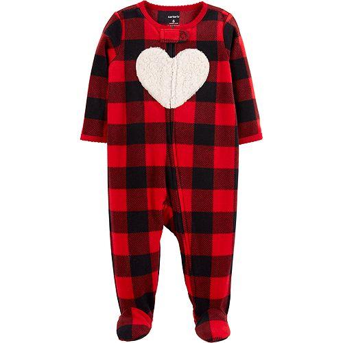 Baby Girl Carter's Microfleece Buffalo Plaid Heart Sleep & Play