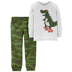 Toddler Boy Carter's 2-pc. Dinosaur Skateboard Tee & Camo Jogger Pants Set