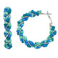 Blue Beaded Nickel Free Hoop Earrings