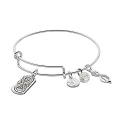 love this life Friends are Family Infinity Charm Bangle Bracelet