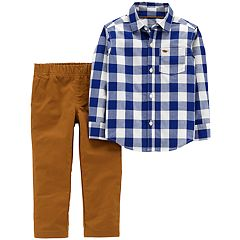 Toddler Boy Carter's 2-pc. Checked Button Down Shirt & Woven Pants Set