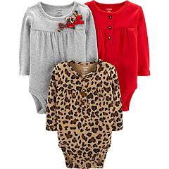 Baby Girl Carter's 3-pk. Henley & Crewneck Bodysuits