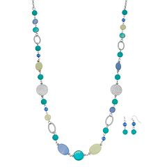 Blue Bead Long Necklace & Drop Earring Set