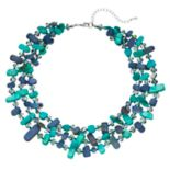 Teal & Navy Bead Multi Strand Necklace