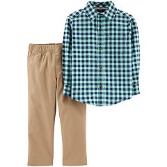Toddler Boy Carter's Flannel Button Down Shirt & Khaki Pants Set