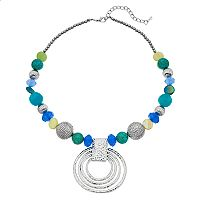 Bead & Hammered Circle Necklace