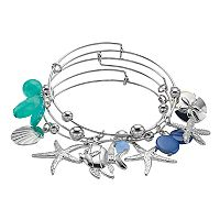 Starfish & Shell Charm Bangle Bracelet