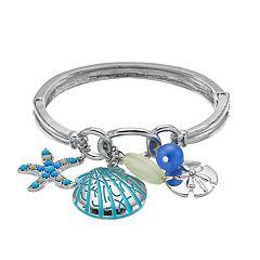 Starfish & Shell Charm Hinged Bangle Bracelet