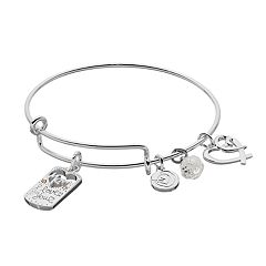 love this life Two Tone Mom Heart Charm Bangle Bracelet
