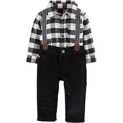 Baby Boy Carter's Flannel Button-Front Bodysuit & Suspender Corduroy Pants