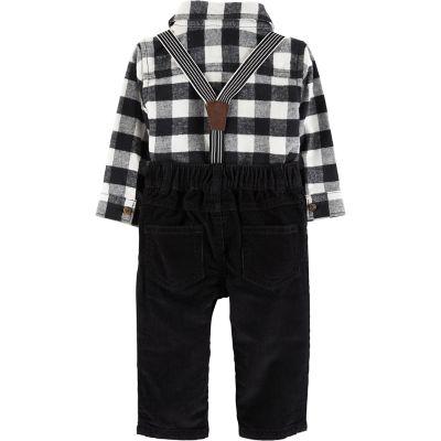 Baby Boy Carter's Flannel Button-Front Bodysuit & Suspender Corduroy Pants