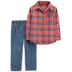 Toddler Boy Carter's Flannel Button Down Shirt & Jeans Set