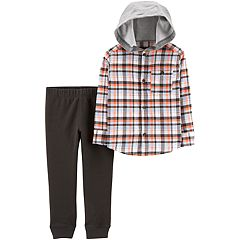 Toddler Boy Carter's Plaid Hooded Button Down Shirt & Pants Set