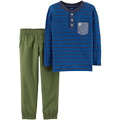 Toddler Boy Carter's Striped Henley Top & Jogger Pants Set
