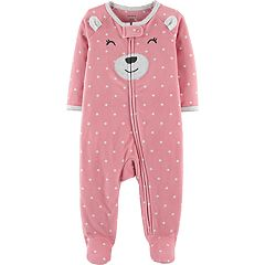 Baby Girl Carter's Microfleece Polka-Dot Bear Sleep & Play