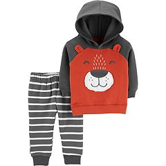 Toddler Boy Carter's Bear Pullover Hoodie & Striped Jogger Pants Set