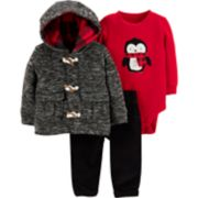 Baby Boy Carter's Penguin Thermal Bodysuit, Space-Dye Hooded Jacket & Corduroy Pants Set