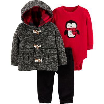 Baby Boy Carter's Penguin Thermal Bodysuit, Space-Dye Hooded Jacket & Corduroy Pants Set