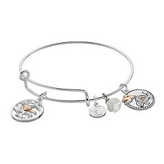 love this life Two Tone Grandma Bird Charm Bangle Bracelet