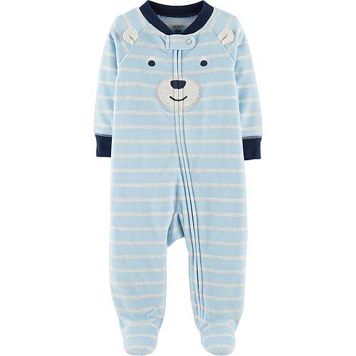 Baby Boy Carter's Microfleece Striped Bear Sleep & Play