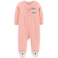 Baby Girl Carter's 'Beary Sweet' Polka-Dot French Terry Sleep & Play